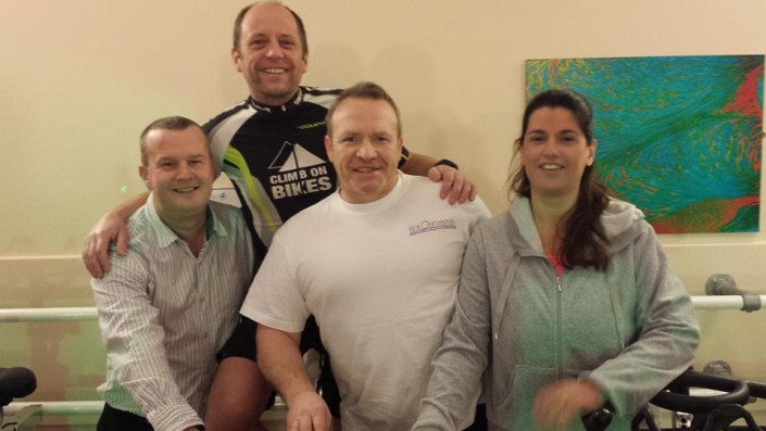 Paul Neades, Jim Keenyon, Kath hey, Mark Dykes, Spinathon 2016 Hereford